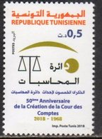 TUNISIA, 2018, MNH, 50th ANNIVERSARY OF COURT OF ACCOUNTS, JUSTICE, 1v - Stamps