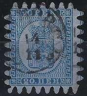 Finlande Coat Of Arms (FACIT) N°8v2C3 Bleu Sur Gris Bleu Papier Epais Roulette III Obl Petit Dateur Helsingfors.. - 1856-1917 Administration Russe