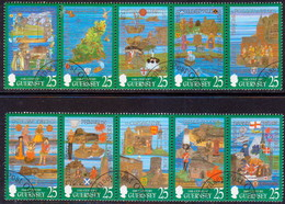 GUERNSEY 1998 SG 760-69 Compl.set In Two Strips Of 5 Used The Millenium Tapestries Project - Guernsey