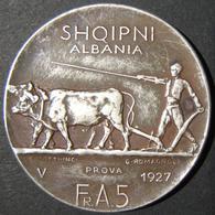 "A60046 Albania: 5 Franga Ari ""Prova"" (trial Piece), 1927; In Silver; KM# 8.1; In VF & Toned Surfaces. - Albania"