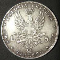 A60050 Eritrea: 5 Lire/Tallero 1891; Obv. Right-facing Umberto I W/leg. UMBERTO I RE D'ITALIA; Rev. Eagle W/coat Of Arms - Albania