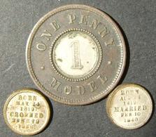 """A60062 Great Britain Lot X3 Victoria-era Tokens: A) """"One Penny Model"""" Bimetallic (copper/white Metal) Token, ND C. 1838; - Albania"""