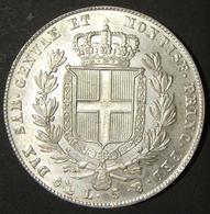 A60064 Italian States > Sardinia: 5 Lire 1849; Obv. Right-facing Carlo Alberto W/leg. CAR. ALBERTVS D. G. REX SARD. CYP. - Albania
