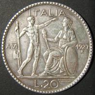A60068 Italy: Silver 20 Lire, 1927R Year VI; KM# 69 In EF. Est. Value $175+ - Albania