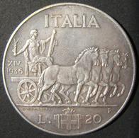 A60070 Italy: Silver 20 Lire, 1936 (Year XIV); KM# 81, In VF-EF; Est. Value $600+ - Albania