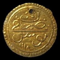 A60077 Ottoman (Tunisia) Gold 1/2 Sultani (hammered Coinage / Zeri Mahbub) Dated 1118 (1706-07), Ahmed III Era, 17mm; In - Albania