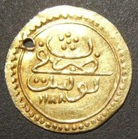 A60078 Ottoman (Tunisia) Gold 1/2 Sultani (hammered Coinage / Zeri Mahbub) Dated 1188 (1774-75); 17.5mm; 1.05g; In AU &  - Albania