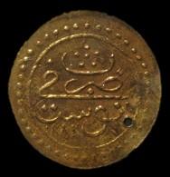 A60079 Ottoman (Tunisia) Gold 1/2 Sultani (hammered Coinage / Zeri Mahbub) Dated 1188 (1774-75), 17.5mm; In VF & Pierced - Albania