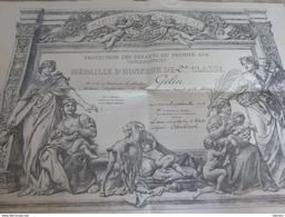 Diplôme Protection Des Enfants 1929 Docteur Gelin Champagne Au Mont D'or Rhône Ministere De L'hygiène Médaille D'honneur - Diplômes & Bulletins Scolaires