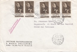 VATICAN 1966 - 5 Fach Frankierung L 40 Auf Express Brief Gel.v.Vatican > Roma - Briefe U. Dokumente