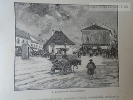 Ukraine Romania - Bukovina Bucovina - Czernowitz Cernauti -Fontaine Place   Old Print Ca 1890's   OM BUKOWINA 9 - Stiche & Gravuren