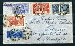 Lettre Enveloppe Cover 1936 France Poste Aérienne Capitaine Navire BREME épouse Timbres Jaures Vimy Bordeaux Bourget DR - Luchtpost