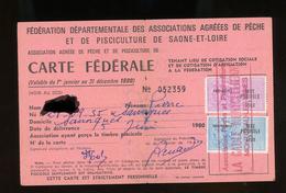 TIMBRES FISCAUX SUR CARTE FEDERALE DE PÊCHE (SAONE ET LOIRE 1980) - Revenue Stamps