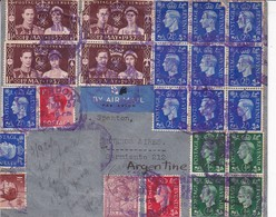 SOBRE ENVELOPE AIRMAIL MIXED STAMPS BLOCKS STAMPS AIR MAIL AUTRES MARQUES CIRCULEE 1937 LONDON TO ARGENTINE-RARE- BLEUP - 1902-1951 (Kings)
