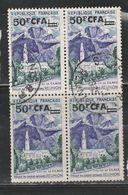 REUNION N° 352A 50F CFA SUR 1F CILAOS BLOC DE 4 OBL - Isola Di Rèunion (1852-1975)