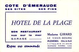 CARTE DE VISITE - HOTEL DE LA PLAGE - MADAME GIRARD LE VIEUX BOURG - PLEHEREL -22- - Cartes De Visite