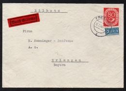 FRECHEN / 13-2-1954 Mi # 137 POSTHORN 80 PF. SOLO AUF EILBRIEF NACH ERLANGEN - PORTOGERECHT (ref 5484) - BRD