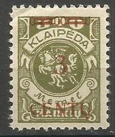 Klaipeda (Memel) - 1923 Centu Overprint 3c/300m MH *    Mi 168 - Memel (1920-1924)