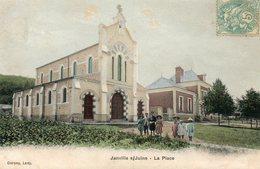 CPA - JANVILLE-sur-JUINE (91) - Aspect Des Enfants Sur La Place En 1906 - Carte Colorisée - France