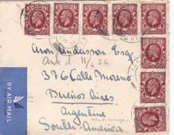 SOBRE ENVELOPE AIRMAIL 3 HALF PENNY STAMP CIRCULATED KENT TO BUENOS AIRES 1936 AUTRES MARQUES- BLEUP - Briefe U. Dokumente