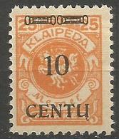 Klaipeda (Memel) - 1923 Centu Overprint 10c/25m MH *    Mi 169 - Memel (1920-1924)