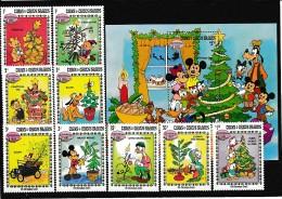 A09077)Disney: Turks + Caicos Inseln 648 - 656** + Bl 46** - Disney