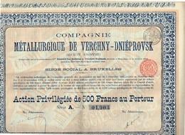 Action Ancienne - Compagnie Métallurgique De Verchny-Dniéprovsk - Titre De 1902 N° 01903 - Russie