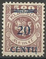 Klaipeda (Memel) - 1923 Centu Overprint 20c/500m MH *    Mi 171 - Memel (1920-1924)