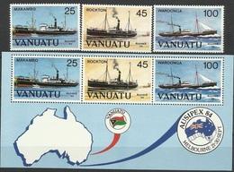 VA 1984-683-5 SHIPS, VANUATU,1 X 3v + S/S, MNH - Schiffe