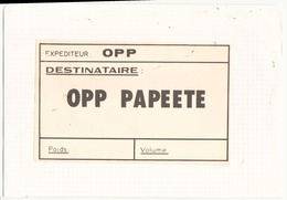 Bon Expéditeur Pour Papeete ( Collé Sur Une Feuille ) - Unclassified