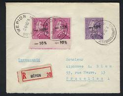 POORTMAN Nr. 724 A + 724 C - 10 % LETTRE RECOMMANDEE DE WEPION SES FRAISES RENOMMEES 12.06.1946 VERS BRUXELLES ! RRRR - 1946 -10%