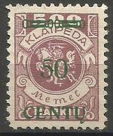 Klaipeda (Memel) - 1923 Centu Overprint 30c/500m Unused No Gum    Mi 172 - Memel (1920-1924)