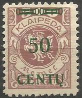 Klaipeda (Memel) - 1923 Centu Overprint 50c/500m MH *    Mi 173 - Memel (1920-1924)