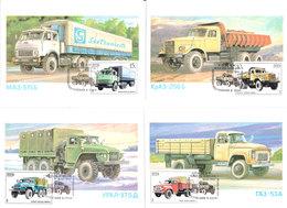 Russia USSR  1986 Trucks Cars, URAL-375 D, GAS 53A,  KrAS-256B,  MAS-515B, Mi 5630-5633, Maxi Card - Camion