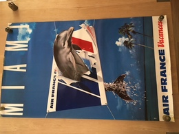 AFFICHE AIR FRANCE VACANCES  MIAMI 100*60 ANNEES 80 - Posters