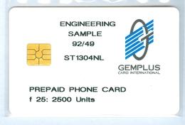 RRR * NEDERLAND  CHIP TELEFOONKAART * GEMPLUS * ENGINEERING SAMPLE * EERSTE TEST CARD FL 25 * ST-1304-NL ONGEBRUIKT MINT - Paises Bajos
