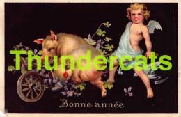 CPA COCHON ANGE BONNE ANNEE PIG ANGEL NEW YEAR & M B R - Cochons