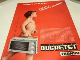 ANCIENNE PUBLICITE RADIO J ACHETE L AVERNIR  DUCRETET THOMSON 1965 - Music & Instruments