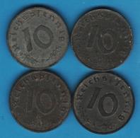 DEUTSCHES REICH LOT 4 X 10 REICHSPFENNIG 1942 A+F  1944 A+G KM# 101 - [ 4] 1933-1945 : Third Reich