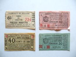 Quattro Biglietti Tramvie Elettriche Tramways Di Bologna Anni '20 Tram Trasporti - Old Paper