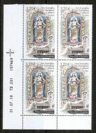 La Vierge Du Remei,sculpture Romane,église De Santa Coloma.Année Européenne Du Patrimoine.Bloc De 4 Neufs ** Coin Daté - French Andorra