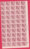 Chine 1951 - N°839B Neuf - Feuillet De 50 Timbres TTB - Feuille Numérotée - Unused Stamps