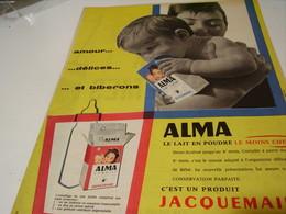 ANCIENNE AFFICHE  PUBLICITE LAIT ALMA DE JACQUEMAIRE 1959 - Posters