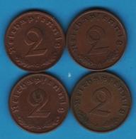 DEUTSCHES REICH LOT 4 X 2 REICHSPFENNIG 1937G+1938A+1940A KM# 90 (svastika) - [ 4] 1933-1945 : Troisième Reich
