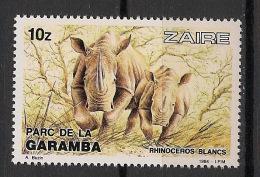 Zaire - 1984 - N°Yv. 1149 - Garamba / Rhinoceros - Neuf Luxe ** / MNH / Postfrisch - Rhinozerosse
