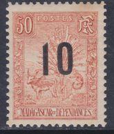 Madagascar N° 119 XX Partie De Série :Timbres 1896 / 1900 Surchargés : 10 Sur 50 C.  Sans Charnière, TB - Nuovi