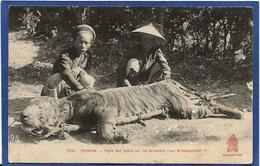 CPA Chasse Chasseur Tonkin Asie Tigre écrite - Viêt-Nam