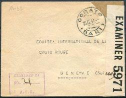 1944 Italy Corato Bari Censor Cover - Red Cross, Geneva Switzerland - Storia Postale