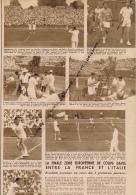 TENNIS : COUPE DAVIS, FRANCE-ITALIE, OLAND-GARROS, ABDESSELAM, BERNARD, BOLELLI, DEL BELLO,  COUPURE REVUE (1949) - Tennis