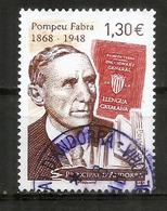 Pompeu Fabra (reform Of Contemporary Catalan Language), Un Timbre Oblitéré 2018, 1 ère Qualité - French Andorra